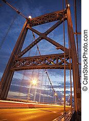 Anthony Wayne Bridge in Toledo, Ohio. Seen at sunset.