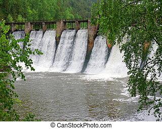 anthropogenic waterfall in satka river - Ural