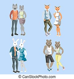 Anthropomorphic animals male and female