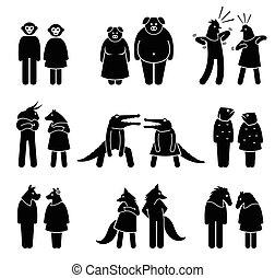 anthropomorphic, caráteres, de, macho, e, female.