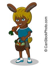 Anthropomorphic cartoon bunny