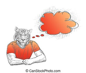 Anthropomorphic lion Man with a empty speech bubble on White...