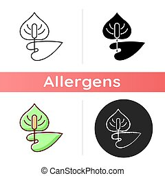 Anthurium icon. Flamingo flower. Blooming laceleaf. Cause of allergic reaction. Dangerous allergen. Allergy for plant. Linear black and RGB color styles. Isolated vector illustrations