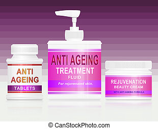 Illustration depicting an assortment of anti ageing products arranged over pink stripe gradient background.