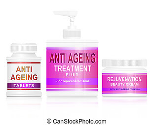 Illustration depicting an assortment of anti ageing products arranged over white.