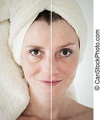 anti-aging, fogalom, folyamat, szépség, -, emelés, arcápolás, bőr törődik, rögzít, megfiatalodás