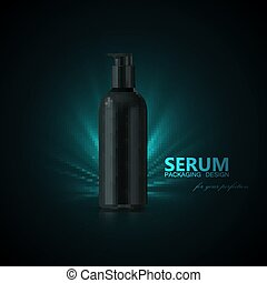 Anti aging serum ads poster template. Cosmetics product....