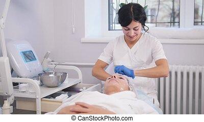 Anti-aging treatments. Putting polyethylene on the face....