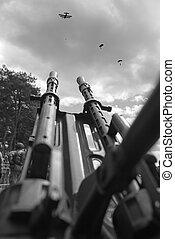 Anti aircraft  machine gun with parachute landing