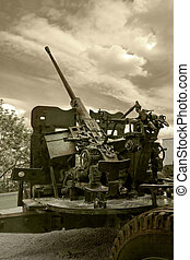 Anti-aircraft war machine - Close view of flak -...