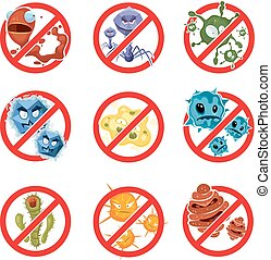 Anti bacteria and germs vector signs set