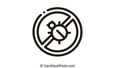 Anti Bed Mattress Bug Icon Animation. black Anti Bed Mattress Bug animated icon on white background
