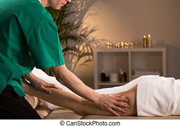 Anti-cellulite smoothing massage - Woman having smoothing...
