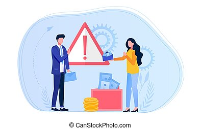 Abstract anti-corruption concept with a woman offering an official a bribe in an envelope. Flat vector illustration