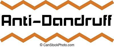 ANTI-DANDRUFF sign on white background. Sticker, stamp