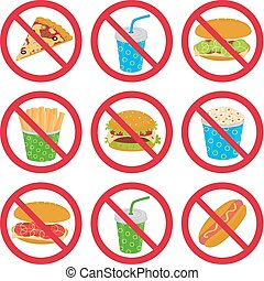 There is a collection of anti-fast food signs