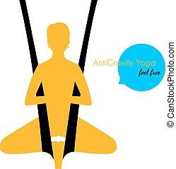 anti-gravity, poses, femme, yoga, silhouette