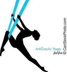anti-gravity, pozy, kobieta, yoga, sylwetka