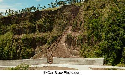 Anti-landslide concrete barrier.Camiguin Philippines. -...