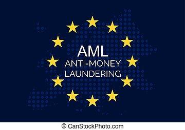 Anti-money laundering concept on european union flag (AML) ...
