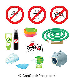 Anti-mosquito care - Anti-mosquito symbols, repellents and...