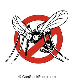 Anti mosquito sign with a funny cartoon mosquito.