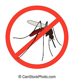 Anti mosquito sign with a realistic mosquito.