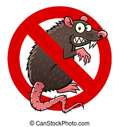 anti rat sign - Anti pest sign with a funny cartoon rat.
