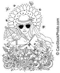 anti, ritratto, ragazza, coloritura, scarabocchiare, libro, cappello nero, ombrello, box., occhiali da sole, illustrazione, white., sole, floreale, zentangl, adults., stress, sunflower., vettore, donna, estate