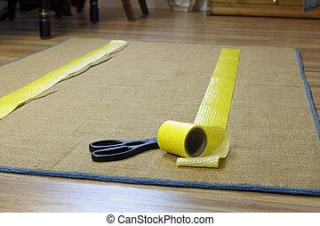 Anti-Slip Rug Tape and Scissors