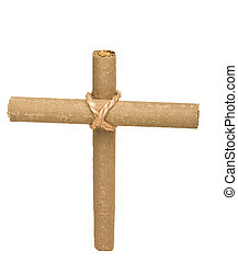 Anti Smoking concept of crucifix made from 2 cigars tied...