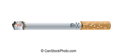 Anti Smoking - Vector of Human skull icon on cigarette with...