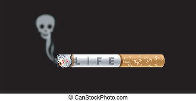 Anti Smoking - Vector of Human skull smoke and cigarette on...