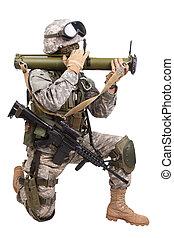 anti-tank, rakétavető, bennünket, katona, háttér, fehér