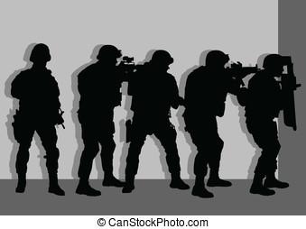 Anti terror force sneaking behind wall