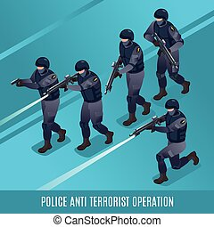 Anti Terrorist Operation of Special Police Force illustration isometric icons on isolated background