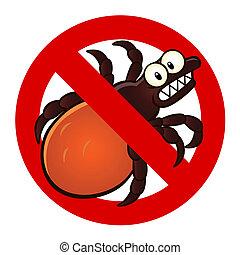 anti tick sign - Anti parasite sign with a funny cartoon ...
