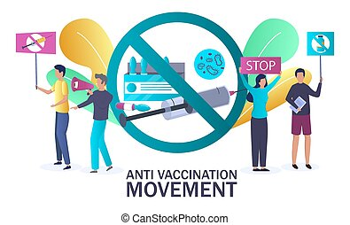 Anti vaccination movement, vector illustration. People protesting against vaccine. Anti vax, anti-immunisation campaign concept for poster, web banner, website page etc.