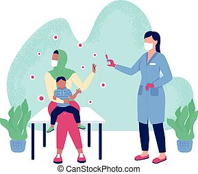 Anti vaccine flat concept vector illustration. No vax. Woman reject pediatric vaccination. Mother with child and doctor 2D cartoon characters for web design. Medicine and healthcare creative idea