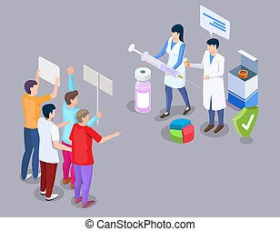 Anti-vaccine protest concept vector illustration in 3d isometric style. Anti vax movement. People protesting against mandatory vaccination and doctors with syringe.