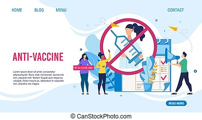Anti-Vaccine Protest Design Flat Landing Page