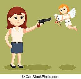 anti valentine girl pointing gun to cupid
