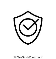 anti-virus, contour, icône, vecteur, confirmation, illustration, protection