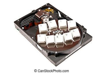 Anti virus - Hard Drive with anti virus from keys. On white...