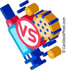anti-virus, illustration, icône, vecteur, injection, isométrique