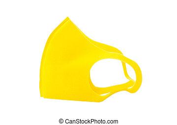 anti-virus, jaune, fond blanc, masque