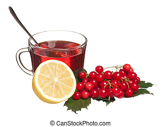 Anti-virus remedies - Glass cup with tea with lemon and...