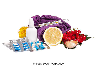 Anti-virus remedies with healthy products isolated on white...