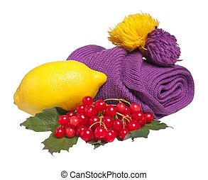 Anti-virus remedy - Fresh lemon with warm knitted scarf...