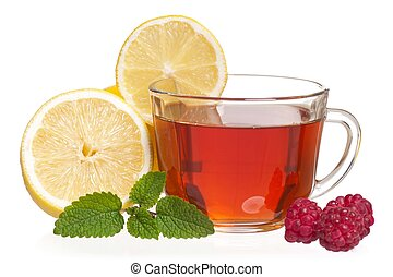 Anti-virus remedy - Glass cup with tea and raspberry...